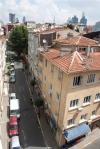 A street and rooftops in Istanbul