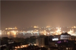 Istanbul old town by night in the fog