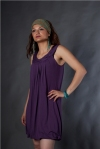Tough girl in a purple dress
